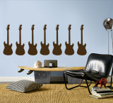 Brown Guitar Silhouette - Set of 7 Wall Decal