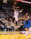 Dallas Mavericks v Miami Heat - Game Two, Miami, FL - JUNE 2: Dwyane Wade and Dirk Nowitzki Photographic Print by Garrett Ellwood