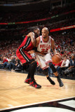 Miami Heat v Chicago Bulls - Game Five, Chicago, IL - MAY 26: Taj Gibson and Udonis Haslem Photographic Print by Nathaniel S. Butler