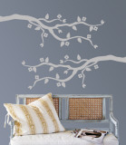 Grey Cherry Blossom Branch Muursticker