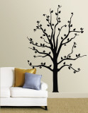 Black Floral Tree Muursticker