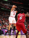 Miami Heat v Chicago Bulls - Game Five, Chicago, IL - MAY 26: Carlos Boozer and LeBron James Photographic Print by Nathaniel S. Butler