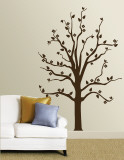 Brown Tree With Birds Autocollant