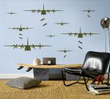 Bomber Airplanes - Army Green Kalkomania ścienna