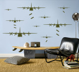 Bomber Airplanes - Army Green - Duvar Çıkartması