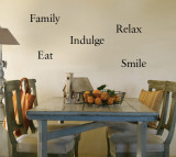 Eat, Indulge, Relax, Family, Smile Autocollant