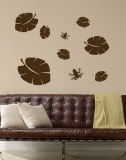 Brown Tropical Leaves with Frogs Wall Decal