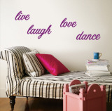 Live, Laugh, Love, Dance - Purple Wall Decal