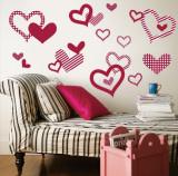 Red Pattern Hearts Muursticker
