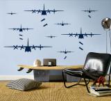 Bomber Airplanes - Navy Kalkomania ścienna