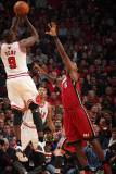 Miami Heat v Chicago Bulls - Game Five, Chicago, IL - MAY 26: Luol Deng and LeBron James Photographic Print by Nathaniel S. Butler