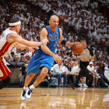 Dallas Mavericks v Miami Heat - Game Two, Miami, FL - JUNE 02: Jason Kidd and Mike Bibby Photographic Print by Nathaniel S. Butler