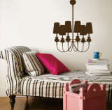 Brown Modern Chandelier Wall Decal