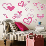 Light Pink Pattern Hearts Wall Decal