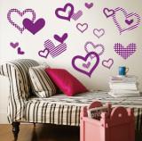 Purple Pattern Hearts Muursticker