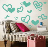 Aqua Hearts Wall Decal