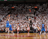 Dallas Mavericks v Miami Heat - Game Two, Miami, FL - JUNE 2: Dirk Nowitzki, Tyson Chandler and Chr Photographic Print by Andrew Bernstein
