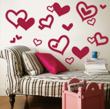 Red Hearts Wall Decal