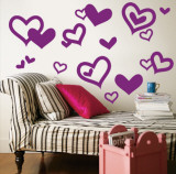 Purple Hearts Muursticker