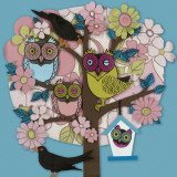 Summer Owl Tree Art by Helen Musselwhite