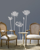 Grey Agapanthus Wallstickers