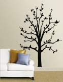Black Tree With Birds Vinilo decorativo