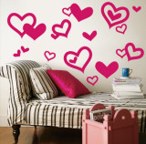 Bright Pink Hearts Wall Decal