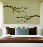 Branch With Multi-Colored Birds Autocollant mural