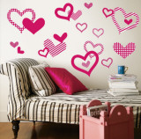 Bright Pink Pattern Hearts - Duvar Çıkartması
