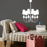 White Modern Chandelier Wall Decal