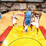Dallas Mavericks v Miami Heat - Game One, Miami, FL - MAY 31: Jason Terry and LeBron James Photographic Print by Nathaniel S. Butler