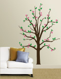 Pink Floral Tree Wall Decal