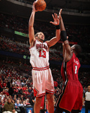 Miami Heat v Chicago Bulls - Game Five, Chicago, IL - MAY 26: Joakim Noah and Chris Bosh Photo by Nathaniel S. Butler