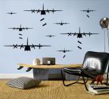 Bomber Airplanes - Black - Duvar Çıkartması