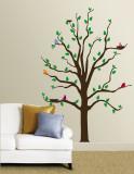 Çok Renkli Kuşları Olan Ağaç - Duvar Çıkartması