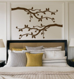 Brown Branch With Leaves Kalkomania ścienna