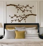 Foglie marroni con uccelli (sticker murale) Decalcomania da muro