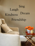 Friendship, Kindness, Laugh, Sing, Dream Autocollant