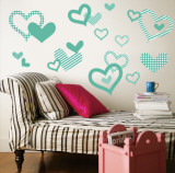 Aqua Pattern Hearts Wall Decal