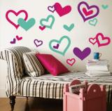 Hearts - Aqua, Bright Pink, Purple - Duvar Çıkartması