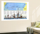 Where Did Columbus Discover America  Map 1986 Wall Mural by  National Geographic Maps