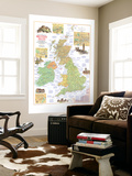 1974 Travelers Map of the British Isles Wall Mural by  National Geographic Maps
