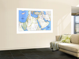 1978 Middle East Map Wall Mural