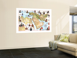1972 Peoples of the Middle East Map Wall Mural by  National Geographic Maps