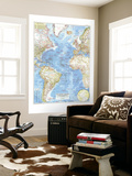 1955 Atlantic Ocean Map Wall Mural by  National Geographic Maps
