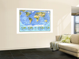1994 World Physical Map Wall Mural by  National Geographic Maps