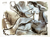 Model with Mirror Lámina coleccionable por Pablo Picasso