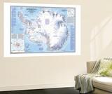 Antarctica Map 1987 Wall Mural