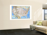 1993 United States Map Wall Mural by  National Geographic Maps
