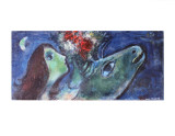 Woman with Green Donkey Posters par Marc Chagall